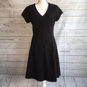 Textured short sleeve black dress
